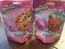 Lot 2 Shopkins Color-Twist Bath Bomb Cookie & Strawberry Scented hidden colors
