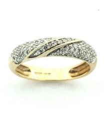 Ladies/womens, 9ct/9carat gold band ring set with diamonds, UK size L