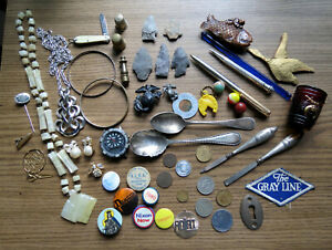 GREAT JUNK DRAWER GROUPING - JEWELRY PINBACKS STERLING SILVER COINS & MUCH MORE