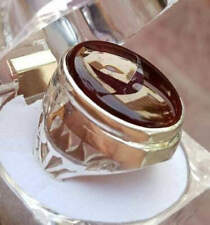 Mens Brown Yamni Aqeeq Ring in 925 Sterling Silver Handmade Artisan Ring
