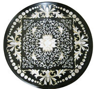 "30"" Marble Round Coffee Table Top Mother of Pearl Gem Mosaic Inlay Decor H1941"