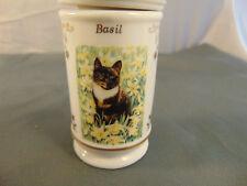Lenox Spice Jar Cats of Distinction fine porcelain 1995 series Basil brown cat