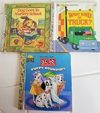 Lot of 3 First Little Golden Books What Kind Truck Puppy Roundup Dog to School