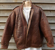 Pacana marrón cuero chaqueta de aviador/piloto/volando-S 38-Tanns de Taunton