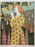 VERNEUIL Gravure Art Nouveau Lithographie femme fleurs cytises et digitales 1898