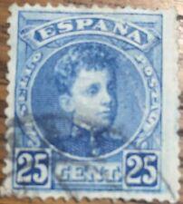 SELLO ALFONSO XIII 1901 25c. AZUL    USADO EDIFIL 248