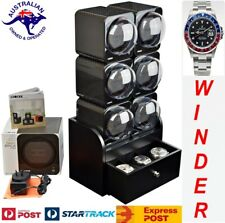 6x Automatic Watch Winder System: 6Fcf-6B2 Boxy Carbon Fibre Look Fancy Brick