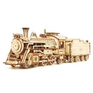 ROKR Laser Cut Train Model Kits 3D Wooden Puzzle 308pcs Toy for Teens Kids Adult