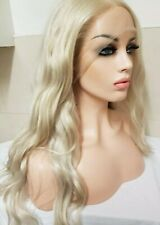Platinum Light Blonde Human hair wig, hand knotted, Lace Front, Clear Lace