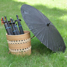 "Black fabric bamboo Parasol / umbrella with ribbon wedding favor 33"" adult"