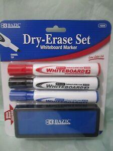 Whiteboard Marker 3 Assorted Color Chisel Tip Dry Erase Markers w/Eraser set.