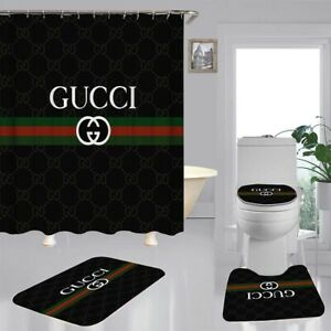 New 4PCS Shower Curtain Gucci Bathroom Carpet Set Bath Mat Non-slip Gift
