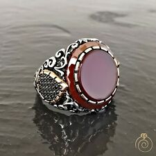 Aqeeq Men Vintage Statement Ring Silver Agate Gemstone Cool Round Engrave Band