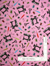 Sewing Machine Thread Thimble Toss Pink Cotton Fabric QT Sew Sassy By The Yard