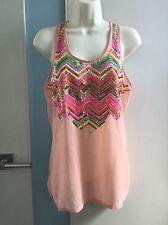 Anthropology Hazel Chevron Gold Neon Green Sequin Sheer Peach Pink tank XS S