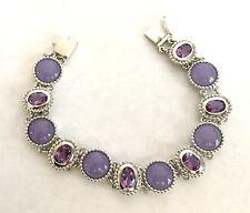 "lavender Jade and Amethyst Bracelet Sterling Silver purple 7 3/8"""
