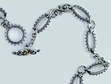 """Barbara Bixby 18"""" Textured Link Necklace Sterling Silver 18K Gold"""