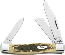 CASE XX CA079 PATTERN 63032 CV STOCKMAN AMBER BONE KNIFE ITEM T1