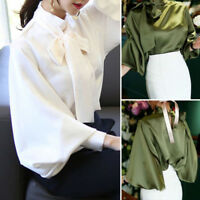 Vintage Satin Lantern Sleeve Shirt Bow Tie Neck Loose Blouse Top Office OL LADY