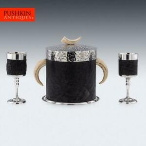 UNUSUAL 20thC INDIAN SILVER PLATE, ELEPHANT LEATHER ICE BUCKET & GOBLETS c.1940