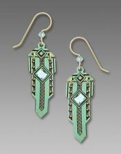 Adajio Earrings Antiqued Aqua Hinged Metal Art Deco 'Sword' Blue Bead Handmade
