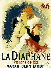 ART PRINT POSTER VINTAGE annonce LA DIAPHANE SARAH BERNHARDT ACTRICE nofl1422