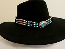 BEADED WESTERN HATBAND WITH MEDALLION CENTER  TURQUOISE BLK NATURAL COLOR BEADS.
