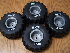 Axial SMT10 Grave Digger BKT Monster Jam Tires &2.2 Silver Wheels 12mm Hex Max D