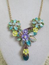 NWT Auth Betsey Johnson Spring Ahead Purple Blue Flower Cluster Station Necklace