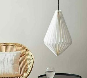 Warm White Origami Diamond Paper Easy Fit Pendant For Bedroom.