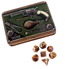 Gunslinger's Kit Antique Brass Color with Black Numbers Metal Dice (7 Die Set)