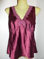 George Stretch Ladies M medium 8 / 10 red satin lace career shirt top