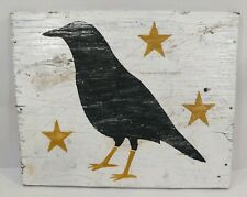 Primitive Shabby CROW Raven Black Bird Stars WOODEN Fall Door/Wall/Porch Sign
