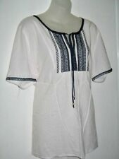 Woman Size 22 White Cotton Top Blouse Navy Shirring To Front & Sleeves Neck Tie