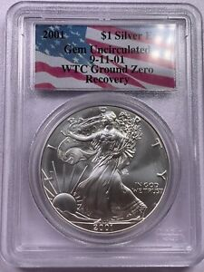 2001 PCGS Gem Uncirculated Silver Eagle WTC Recovery 9/11 Ground Recovery - #4