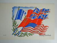 Karte Versand Gravur Antik Einmalig Au Pochoir Unterzeichnet Lucien Baubaut Flag
