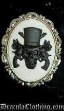 Skull and Guns Cameo Brooch Mens/Ladies Steampunk Gothic Victorian Vintage