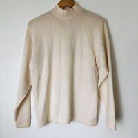 ST JOHN Separates Women's VTG Ivory Turtle Neck Sweater Back Zip Size M