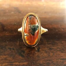 Vintage moss agate gold ring size M 1/2
