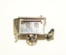 VINTAGE STERLING SILVER 3-D TRAILER CAMPER CHARM WITH 2 MOVABLE WHEELS MOVE