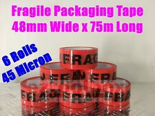 6 Rolls Fragile Heavy Duty Packing Tape Packaging Tapes 45 Micron 48mm 75M Bulk