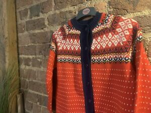 Womens Vintage Boutique Icelandic Style Jumper Cardigan Red Blue Size S