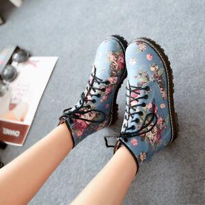 Womens Ladies Fashion Floral Printed Denim Lace Up Combat Ankle Boots Shoes aiqo