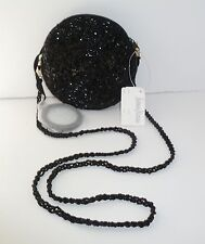 NEIMAN MARCUS Beaded Evening Bag Purse Black Mirror NWT