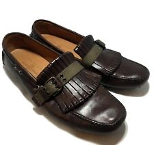 CAR SHOE MEN'S BROWN LEATHER SLIP ON CASUAL LOAFERS, 8, $495