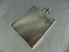 Asprey Art Deco Sterling Solid Silver Hip Flask, Chester 1936