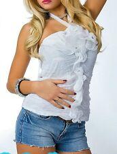 SeXy Miss Damen Neckholder Top gesmokt Romantic Volant Chiffon 38/40 NEU weiß