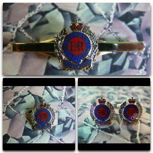 Royal Engineers Queens Crown Lapel / Cuff Links / Tie Bar Gift Set RE