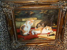"""Three Kittens Playful  Museum Quality """"Masters Style"""" Reproduction Oil Painting"""