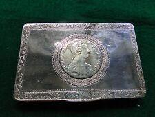 Box, Sterling Silver Coin Memento, Engraved Made Circa 1900, European Antique